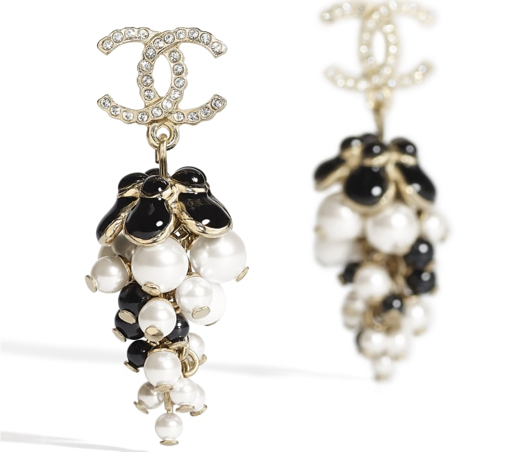 image 2 - Earrings - Metal, Glass Pearls, Diamanté & Resin - Gold, Pearly White, Crystal, Black & White