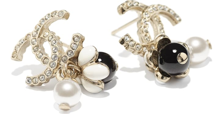 image 2 - Earrings - Metal, Glass Pearls, Strass & Resin - Gold, Pearly White, Crystal, Black & White