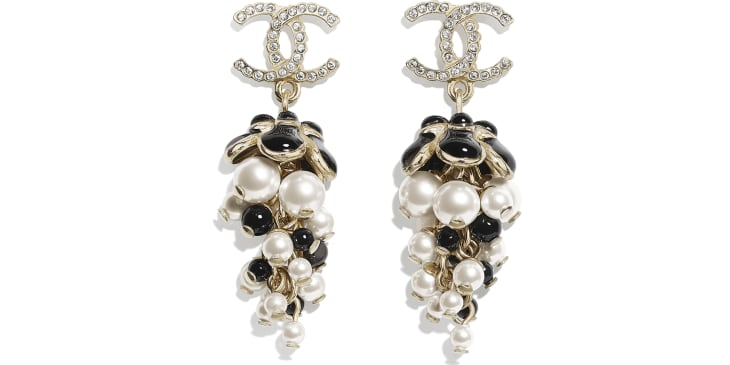 image 1 - Earrings - Metal, Glass Pearls, Diamanté & Resin - Gold, Pearly White, Crystal, Black & White
