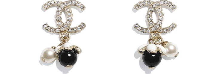 image 1 - Earrings - Metal, Glass Pearls, Strass & Resin - Gold, Pearly White, Crystal, Black & White