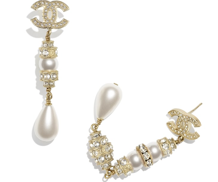 image 2 - Earrings - Metal, Glass Pearls, Imitation Pearls & Strass - Gold, Pearly White & Crystal