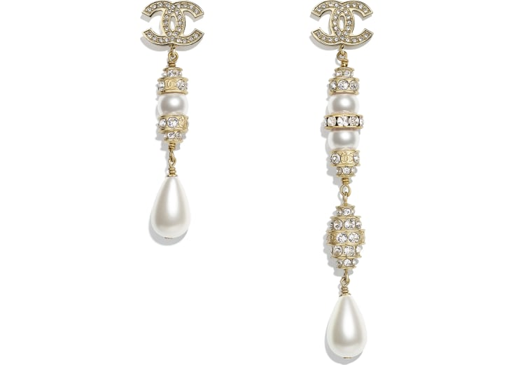 image 1 - Earrings - Metal, Glass Pearls, Imitation Pearls & Strass - Gold, Pearly White & Crystal