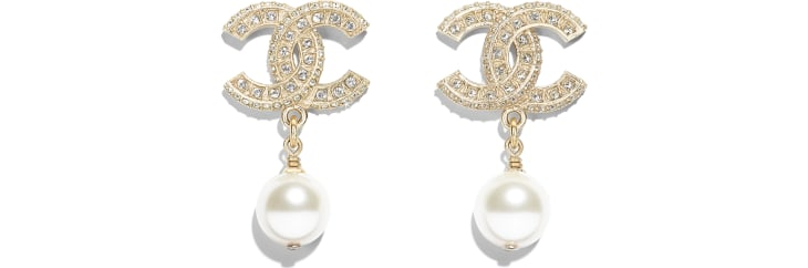image 1 - Earrings - Metal, Glass Pearls, Resin & Strass - Gold, Pearly White & Crystal