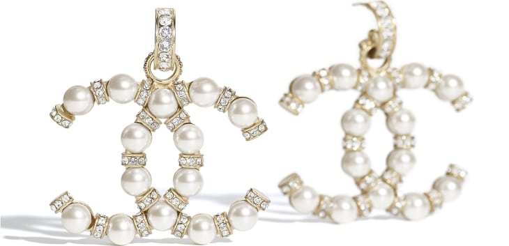 image 2 - Earrings - Metal, Glass Pearls & Strass - Gold, Pearly White & Crystal