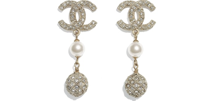 image 1 - Earrings - Metal, Glass Pearls & Diamantés - Gold, Pearly White & Crystal