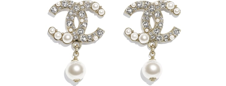 image 1 - Earrings - Metal, Glass Pearls & Strass - Gold, Pearly White & Crystal