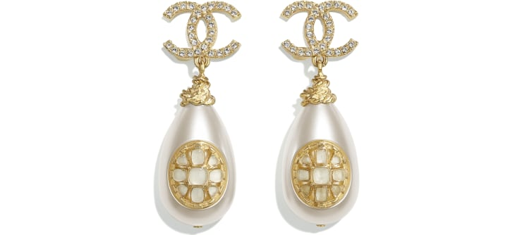 image 1 - Earrings - Metal, Imitation Pearls, Strass & Resin - Gold, Pearly White & Crystal