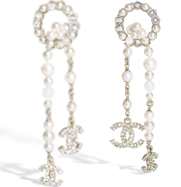 image 2 - Earrings - Metal, Natural Stones, Cultured Freshwater Pearls, Glass Pearls & Strass - Gold, Pearly White & Crystal