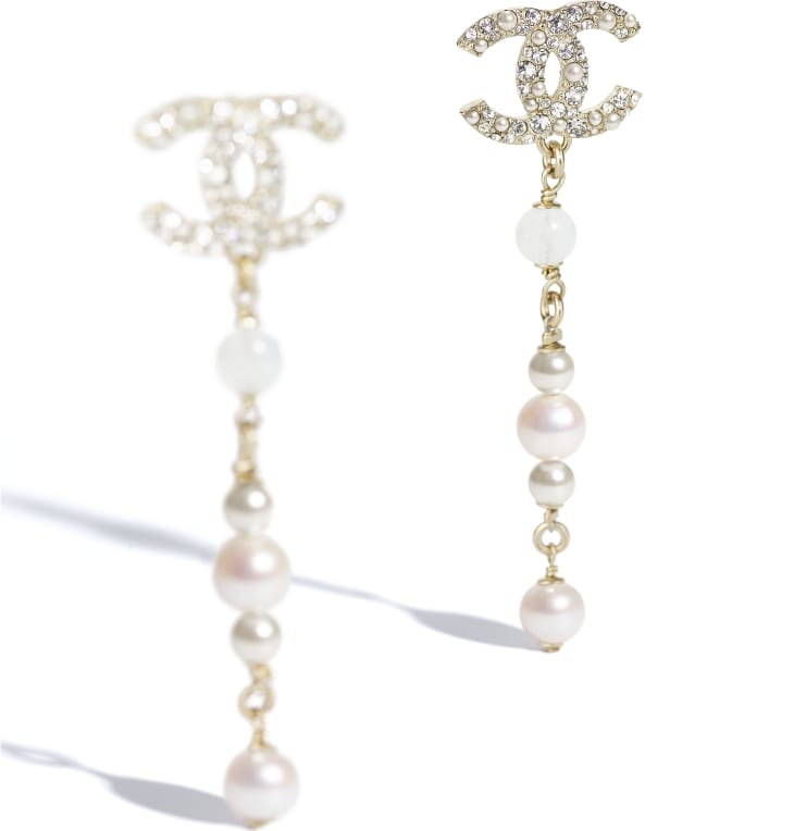 image 2 - Earrings - Metal, Natural Stones, Cultured Freshwater Pearls, Glass Pearls & Diamanté  - Gold, Pearly White & Crystal
