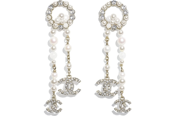 image 1 - Earrings - Metal, Natural Stones, Cultured Freshwater Pearls, Glass Pearls & Strass - Gold, Pearly White & Crystal