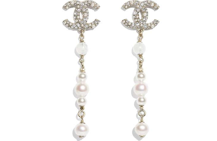 image 1 - Earrings - Metal, Natural Stones, Cultured Freshwater Pearls, Glass Pearls & Diamanté  - Gold, Pearly White & Crystal
