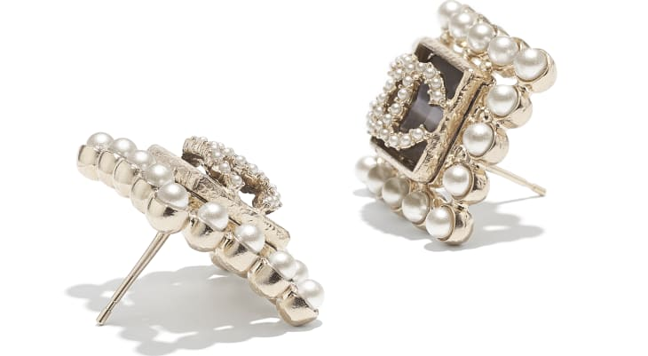 image 2 - Earrings - Metal, Glass Pearls & Glass - Gold, Pearly White & Gray