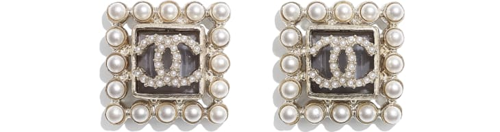 image 1 - Earrings - Metal, Glass Pearls & Glass - Gold, Pearly White & Gray