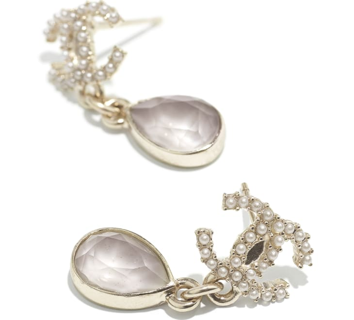 image 2 - Earrings - Metal, Glass Pearls & Diamantés - Gold, Pearly White & Grey