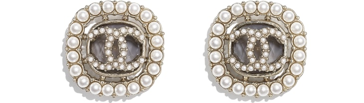 image 1 - Earrings - Metal, Glass Pearls & Diamantés - Gold, Pearly White & Grey