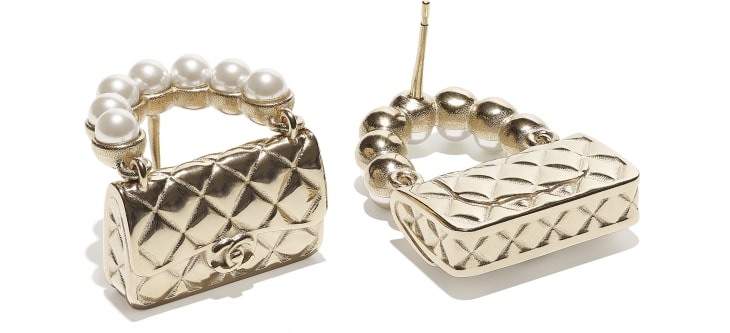 image 2 - Brincos - Metal & Pérolas De Vidro - Dourado & Branco Perolado