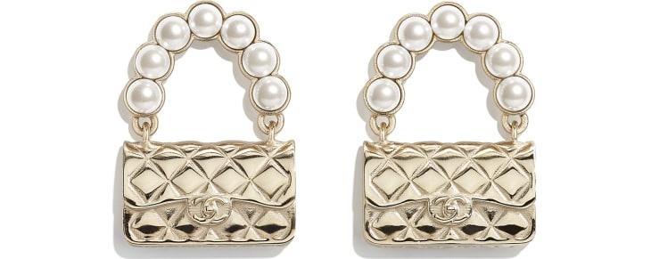 image 1 - Brincos - Metal & Pérolas De Vidro - Dourado & Branco Perolado