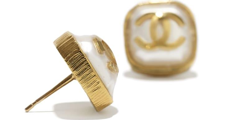 image 2 - Brincos - Metal & Resina - Dourado & Branco Perolado