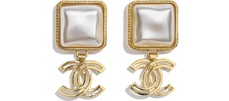 image 1 - Earrings - Metal & Resin - Gold & Pearly White