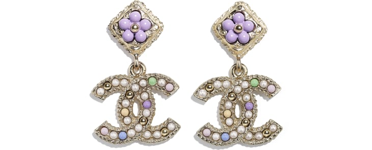 image 1 - Earrings - Metal, Glass Pearls & Resin - Gold, Pearly White & Multicolor