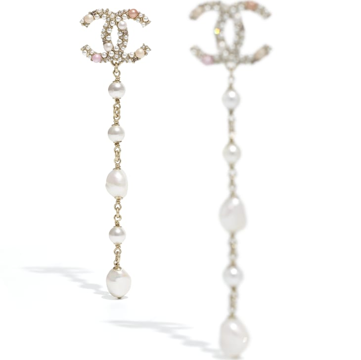 image 2 - Earrings - Metal, Cultured Freshwater Pearls, Glass Pearls & Strass - Gold, Pearly White, Pink & Crystal