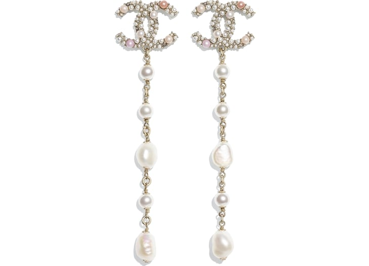 image 1 - Earrings - Metal, Cultured Freshwater Pearls, Glass Pearls & Strass - Gold, Pearly White, Pink & Crystal