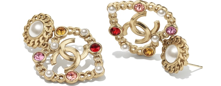 image 2 - Earrings - Metal, Glass Pearls, Imitation Pearls & Strass - Gold, Pearly White, Red, Pink & Yellow