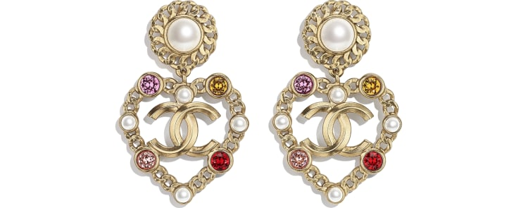 image 1 - Earrings - Metal, Glass Pearls, Imitation Pearls & Strass - Gold, Pearly White, Red, Pink & Yellow