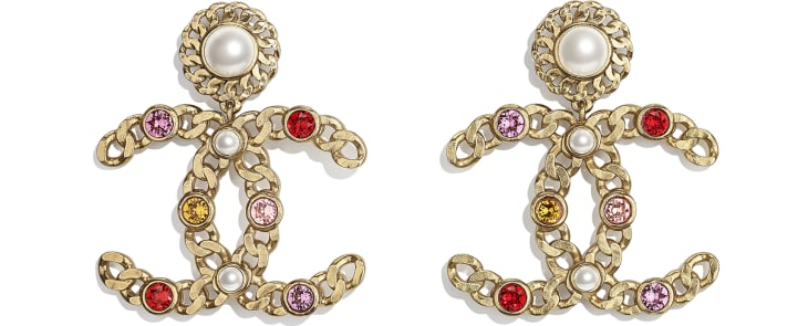 image 1 - Earrings - Metal, Glass Pearls & Strass - Gold, Pearly White, Red, Pink & Yellow