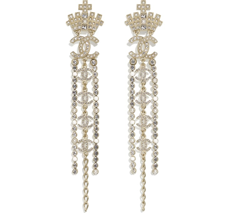image 1 - Earrings - Metal, Glass Pearls, Resin & Strass - Gold, Pearly White, White & Crystal