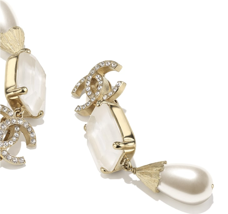 image 2 - Earrings - Metal, Imitation Pearls & Strass - Gold, Pearly White, White & Crystal