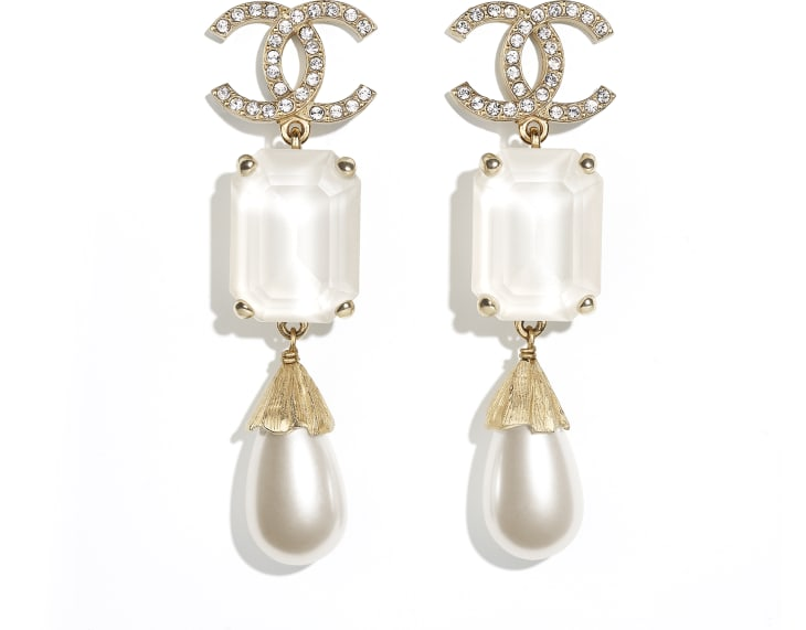image 1 - Earrings - Metal, Imitation Pearls & Strass - Gold, Pearly White, White & Crystal