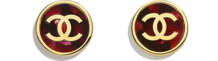 image 1 - Earrings - Metal & Resin - Gold & Pink