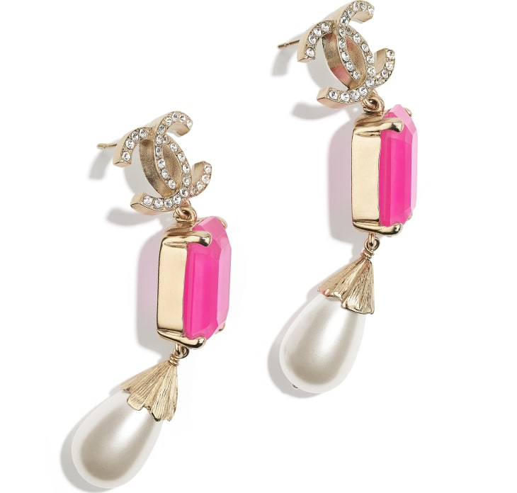 image 2 - Earrings - Metal, Imitation Pearls & Strass - Gold, Pink & Pearly White