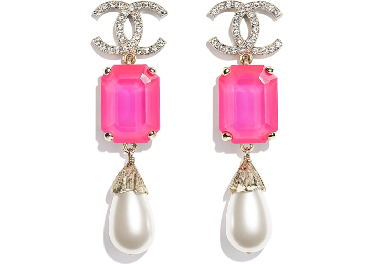 image 1 - Earrings - Metal, Imitation Pearls & Strass - Gold, Pink & Pearly White