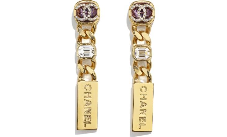 image 1 - Boucles d'oreilles - Métal & strass - Doré, violet & cristal
