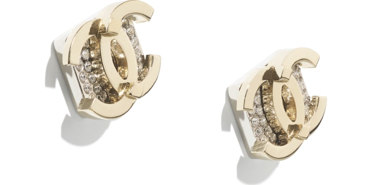 image 2 - Earrings - Metal & Strass - Gold, Silver & Crystal