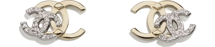 image 1 - Earrings - Metal & Strass - Gold, Silver & Crystal