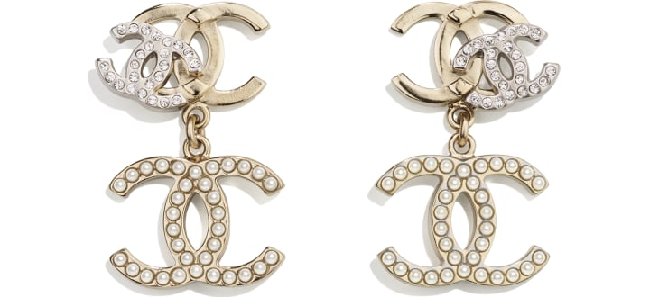 image 1 - Earrings - Metal, Strass & Glass Pearls - Gold, Silver, Crystal & Pearly White