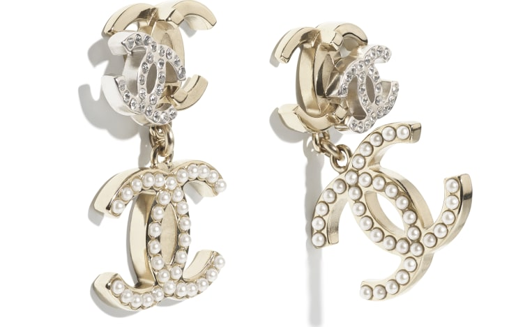 image 2 - Earrings - Metal, Strass & Glass Pearls - Gold, Silver, Crystal & Pearly White
