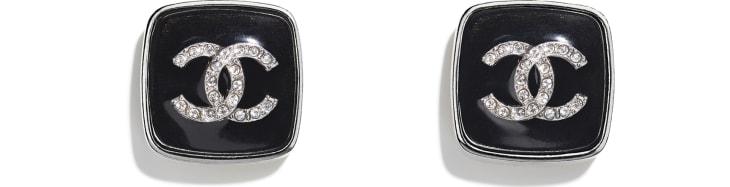 image 1 - Earrings - Metal & Strass - Ruthenium, Black & Crystal