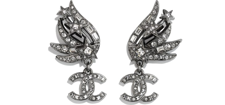 image 1 - Earrings - Metal & Strass - Ruthenium & Crystal
