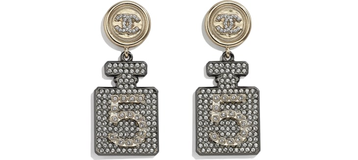 image 1 - Earrings - Metal & Strass - Ruthenium, Gold & Crystal