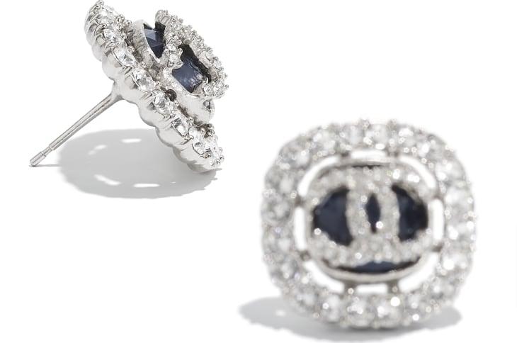 image 2 - Earrings - Metal & Strass - Silver, Black & Crystal
