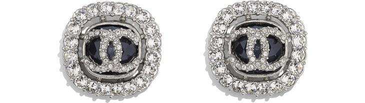 image 1 - Earrings - Metal & Strass - Silver, Black & Crystal