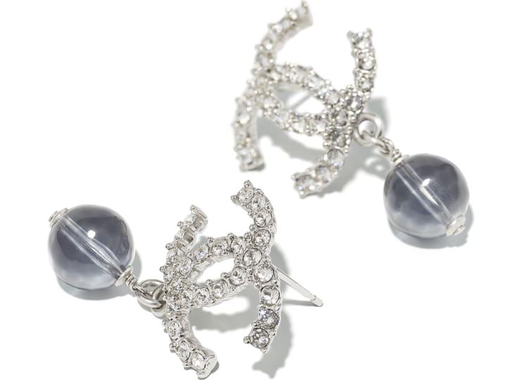 image 2 - Earrings - Metal, Glass Pearls & Diamantés - Silver, Blue & Crystal