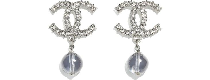 image 1 - Earrings - Metal, Glass Pearls & Diamantés - Silver, Blue & Crystal