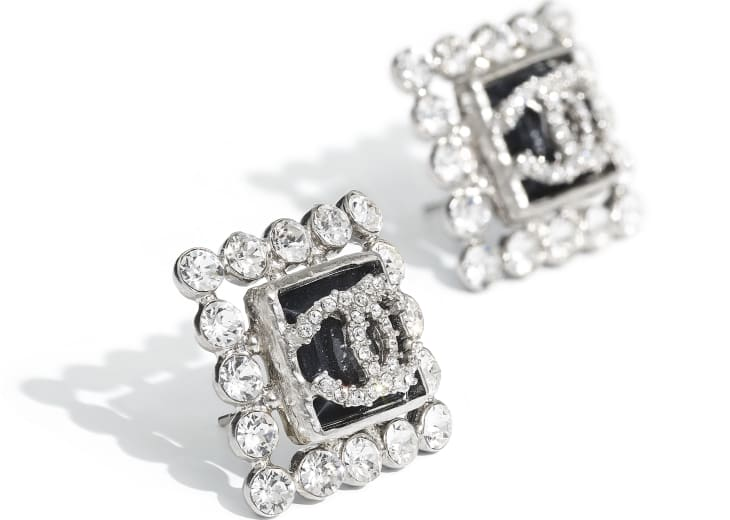 image 2 - Earrings - Metal, Glass & Strass - Silver, Blue & Crystal