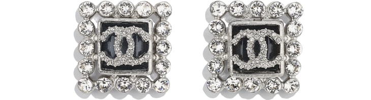image 1 - Earrings - Metal, Glass & Strass - Silver, Blue & Crystal