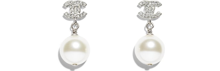 image 1 - Earrings - Metal, Glass & Strass - Silver & Pearly White